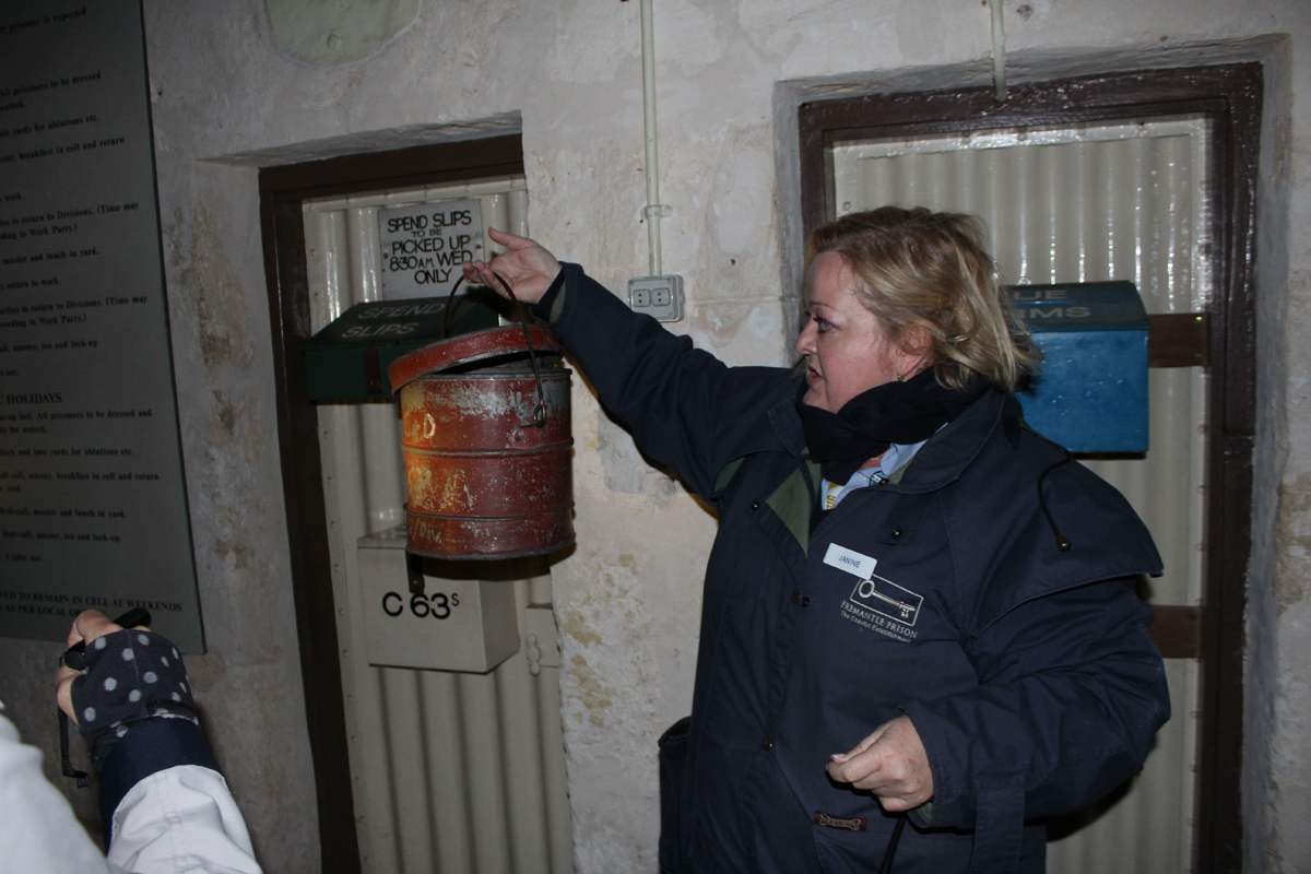 Janine displays the toilet bucket. Remember the bucket you retrieved your torchlight from, she asked. Yep, it was one of these!