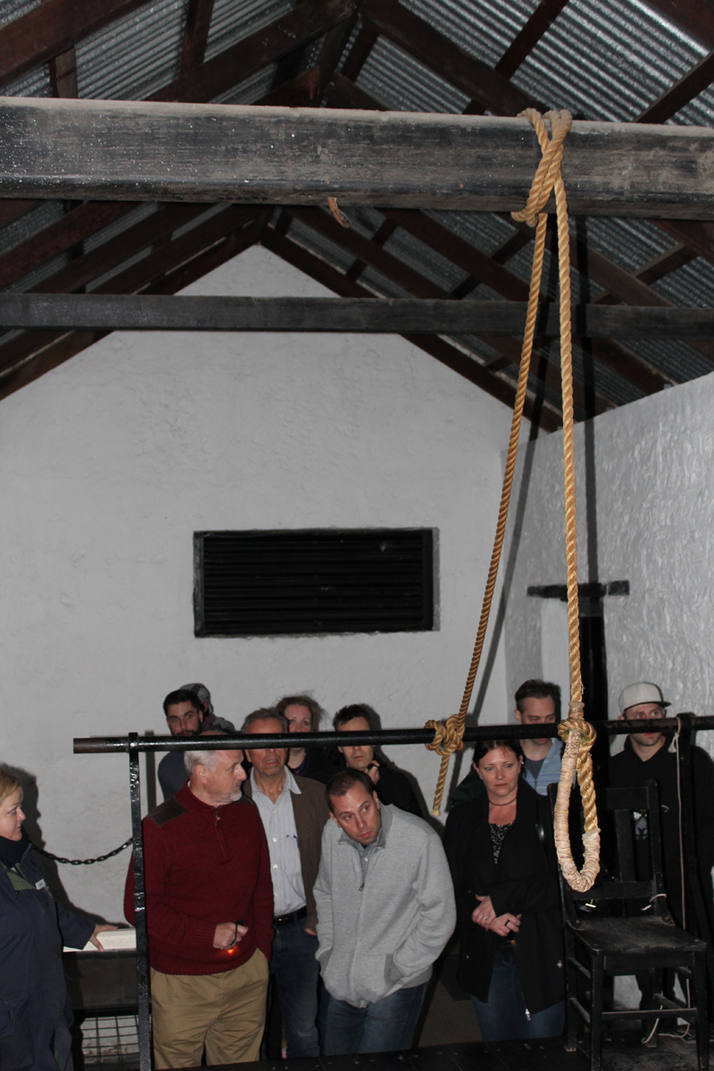 The gallows. This rope was an actual reserve rope from a hanging. The executioner always had two backup ropes.